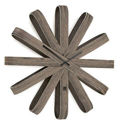 Umbra Ribbonwood 20.25 Silent Sweep Wooden Wall Clock (Walnut) 118071-746