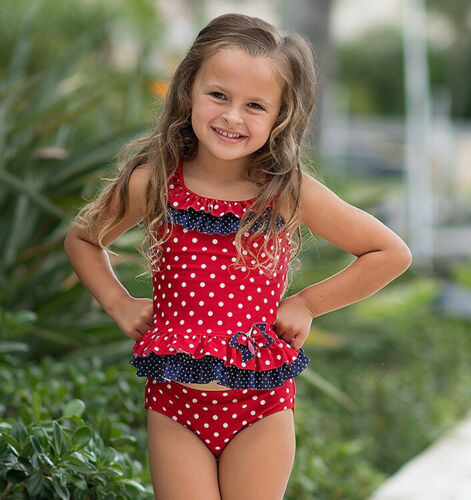 NWT Isobella and Chloe Vacation Gal Polka Dot Tankini Two Piece Swimsuit 24M 4T