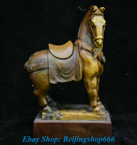 """9"""" Old Chinese Natural Shoushan Stone Carved Animal Zodiac Year Horse Sculpture"""