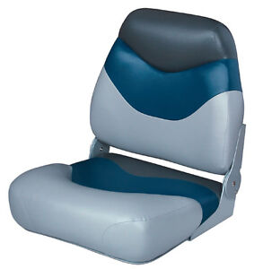 Pair NEW WISE DELUXE BOAT SEATS Gray/ Navy/ Charcoal