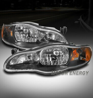 FOR 00-05 CHEVY MONTE CARLO REPLACEMENT HEADLIGHTS LAMPS BLACK LEFT+RIGHT PAIR
