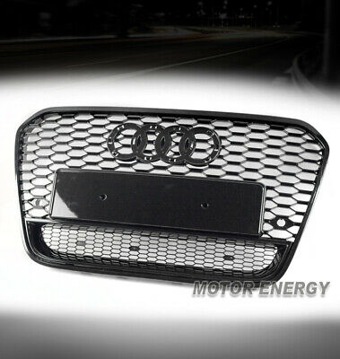 HONEYCOMB MESH EURO RS6 STYLE HEX UPPER GRILLE BLACK FOR 12-14 AUDI A6 / QUATTRO