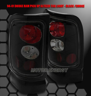 94-01 DODGE RAM PICKUP TAIL BRAKE LIGHT LAMP BLACK/SMOKE LENS 1500 2500 3500 SET - 01 Tail Light Lamp Lens