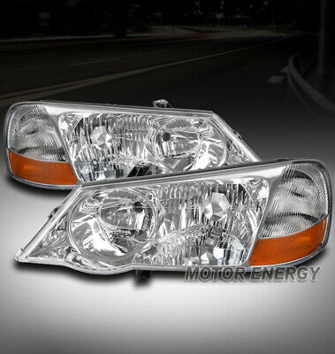 FOR 02-03 ACURA TL (STOCK HID) REPLACEMENT HEADLIGHT LAMP CHROME LEFT+RIGHT PAIR