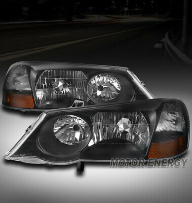 FOR 02-03 ACURA TL (STOCK HID) REPLACEMENT HEADLIGHT LAMP BLACK LEFT+RIGHT PAIR