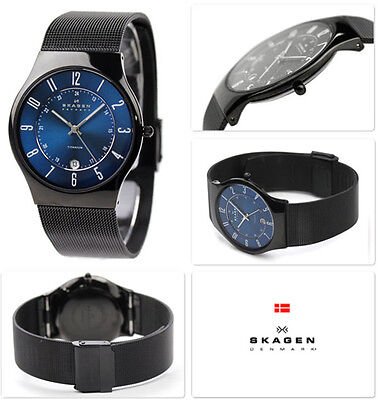 Skagen T233XLTMN Men's Denmark Blue Dial Black Plated