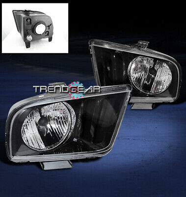 2005-2009 FORD MUSTANG CRYSTAL HEADLIGHT LAMP BLACK 2006 2007 2008 SHELBY GT SET