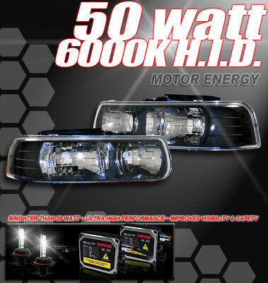 99-02 CHEVY SILVERADO/00-06 TAHOE/SUBURBAN CRYSTAL HEADLIGHT+HID 6K BLACK PICKUP