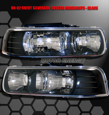 99-02 CHEVY SILVERADO/00-06 TAHOE/SUBURBAN CRYSTAL HEADLIGHTS BLACK PICKUP TRUCK