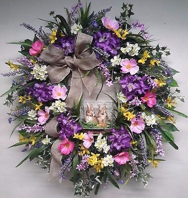 Flower Door Wreath Spring Summer Bunny Decoration Woodsy Country Wall Decor SALE