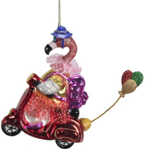 "Flamingo glass Christmas ornament 5.5"" scooter, wearing backpack & skirt"