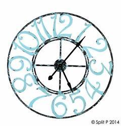 SPA BLUE METAL CLOCK By SPLIT P/LARGE WALL CLOCK