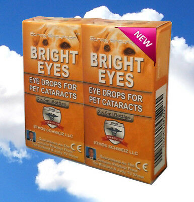 Pet Vision Eye Drops - Cataract Ethos Bright Eyes Vision Eye Drops for Dogs & Pets Two Boxes 20ml