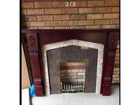 Quality Mahogany surround granite Marble Fireplace Brass Furniture Landlord Rental Builder