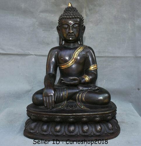 "20"" Old Tibet Buddhism Temple Bronze Gilt Gem Sakyamuni Tathagata Buddha Statue"