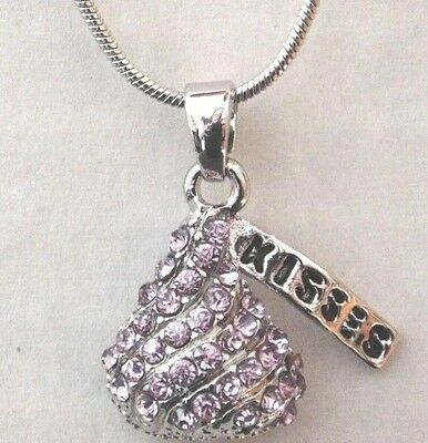Hersheys kiss ebay 1 lavender crystals chocolate hershey kiss pendant necklace mozeypictures Image collections