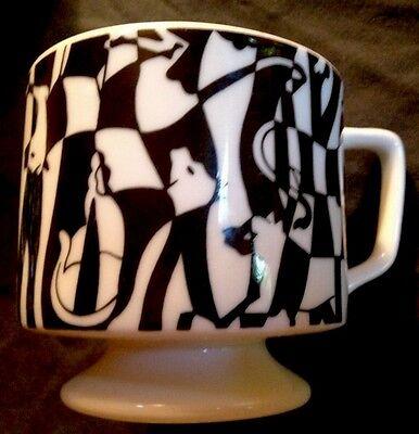 4 Coffee Mugs Set ~ Black White CUP LOT  Ceramic Animals