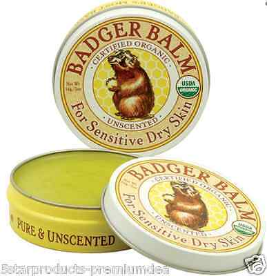 NEW BADGER COMPANY BALM SENSITIVE DRY SKIN UNSCENTED SMOOTH & SOOTHE WHOLE BODY