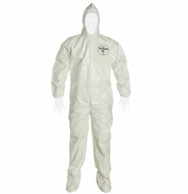 New Dupont Tychem Sl Protective Hazmat Coverall Suit W Hood White Size Medium