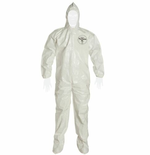 NEW Dupont Tychem SL Protective Hazmat Coverall Suit w/ Hood, White Size Medium