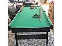 Pool table top, balls and cue