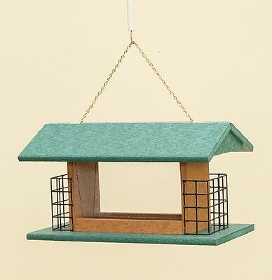 LARGE 2 SUET CAKE & SEED FEEDER - Hanging 100% Recycled Weatherproof Poly USA