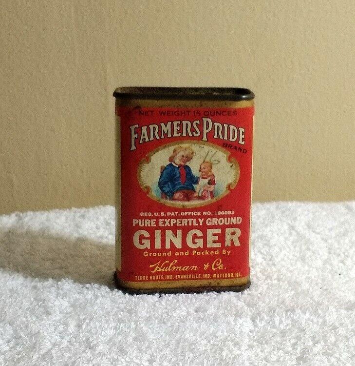 Vintage FARMERS PRIDE Spice TIN • GINGER • Hulman & Co. TERRE HAUTE Evansville