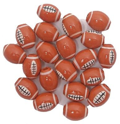 15mm Hand-Painted Peruvian CERAMIC FOOTBALL BEADS: Packs of 20