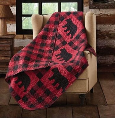 BLACK BEAR RED CHECKS 50 x 60 QUILT THROW :  BUFFALO PLAID CABIN LODGE BLANKET ()