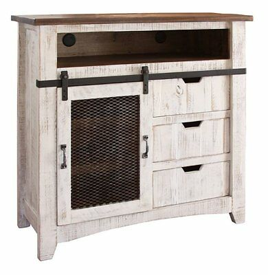 (Rustic White Wash TV Media Chest & Free Shipping)