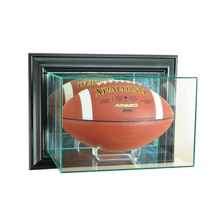 bdf1d10863a Details about WALL MOUNT FULL SIZE GLASS FOOTBALL DISPLAY CASE UV  PROTECTION BLACK MIRROR