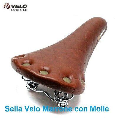 2071 Sella Velo Vintage Nero con Molle+Borchie per bici 20-24-26 Tipo Graziella