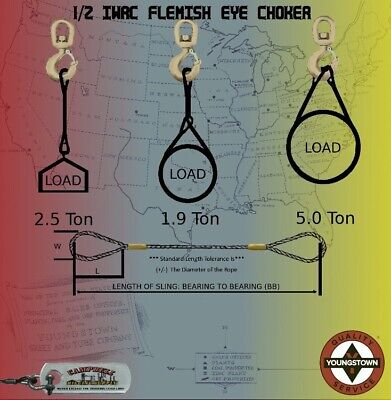 Choker Sling Wire Rope Steel Cable Flemish Eye 12 X 6 Iwrc Rigging Choker