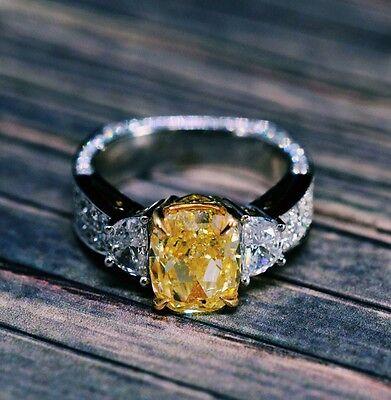 4.71TCW Natural Cushion Fancy Intense Yellow 3 Stone Half Moon Diamond Ring GIA  4