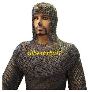 Chain-Mail-Shirt-8mm-Flat-Riveted-Solid-Ring-Black-Chain-Mail-Hauberk-Coif-Set