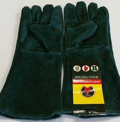 16 Green Welding Gloves Split Leather Cowhide Protect Welder Hands