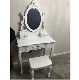 Shabby chic dressing table, mirror and stool