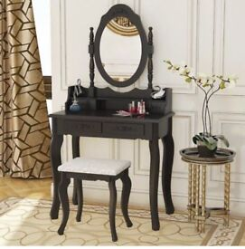 Black vintage dressing table and stool brand new