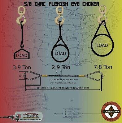 Choker Sling Wire Rope Steel Cable Flemish Eye 58 X 10 Iwrc Rigging Choker
