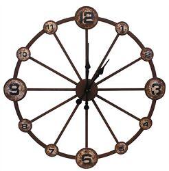 WHEEL IRON CLOCK By SPLIT P/LARGE WALL CLOCK