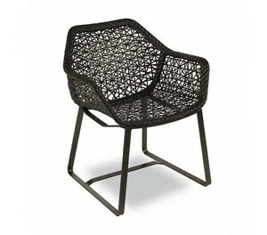 black synthetic wicker rattan chair outdoor indoor dining chair ebay