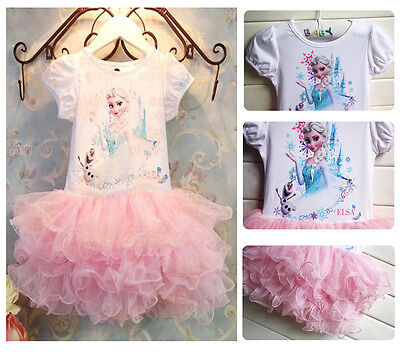 Cartoon Princess Baby Girls Frozen Elsa Print Party Lace Tutu Dress Sundress