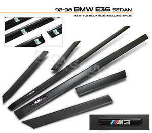 BODY SIDE MOLDING TRIM 92-98 BMW E36 318i 325i 328i M3 SEDAN 4 DOOR EURO SPORT
