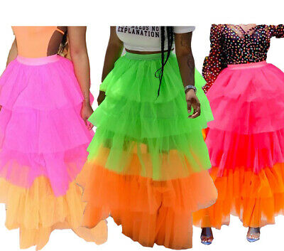 Womens Colorful Mesh Tutu Skirt Summer Sleeveless Casual Party Club Skirt - Color Tutus