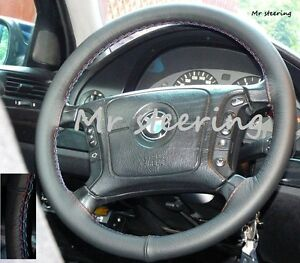 FOR-BMW-5-SERIES-E39-BLACK-REAL-LEATHER-STEERING-WHEEL-COVER-M3-STITCHING-95-04