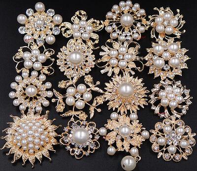 Lot of 20 - Gold Flower Rhinestone Pearl Brooch Pin Wedding Bridal Bouquet