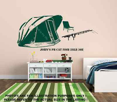 Personal Best Carp Fishing Scene wall art stickers,Bivvy,Chair,Rods,Boys