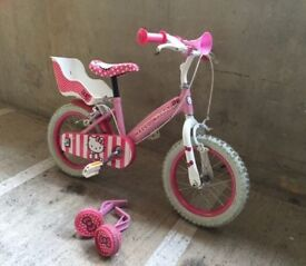 Hello Kitty bicycle with stabilisers and helmet