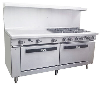 New. Commercial 72 Range With 6 Burners 36 Griddle. Etl Made In Usa By Ideal