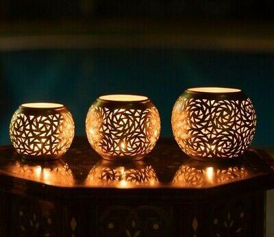 Set of 3 Handmade Moroccan candle holder candlestick holder Halloween lightin
